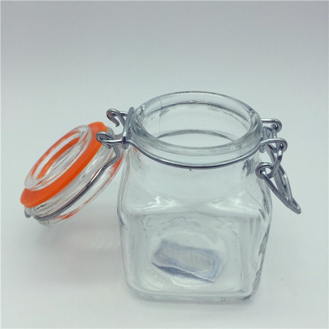 Factory 120ml Glass Food Mason Jar Honey /Jam /Canning with Clamp Lid,Airtight Glass Food Jar,Glass Candy Jar in retail