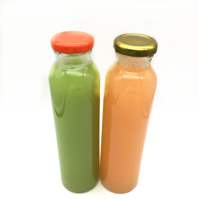 Good quality round shape wholesale cheap 300ml glass juice bottle for water soft drinks