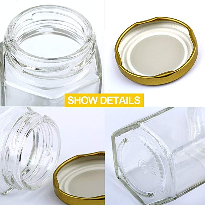 Gold Lid 1.5oz Hexagon Mini Glass Jars for Gifts Wedding Favors Honey Jams
