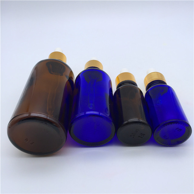 25ml 50ml100ml 1oz 2oz 4oz boston round Amber and blue Glass Liquid Reagent Aromatherapy oil&essential oil dropper bottle