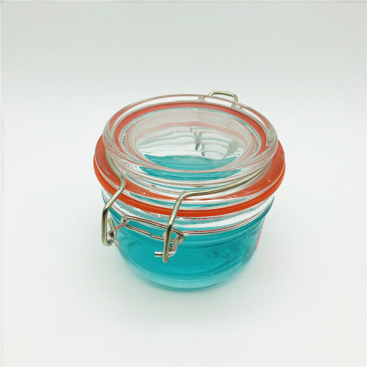 Wholesale 10oz round transparent airtight glass buckle jar for kitchen