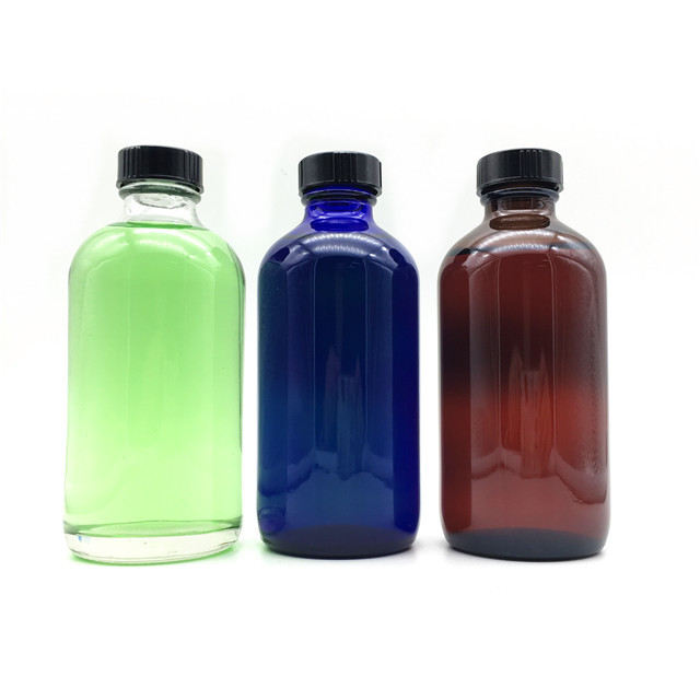 High quality chemical saline 500ml/16oz clear glass boston round bottle for hand soap