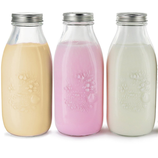 Hot sale reusable dairy products glass bottle 1L for milk