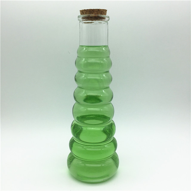Cone-shape 350ml cork lid glass juice bottle