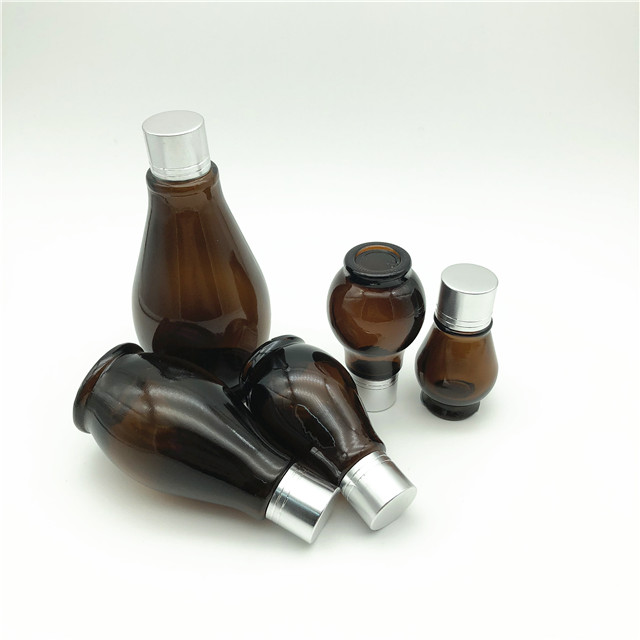 10ml 20ml 30ml 50ml 100ml gourd shaped amber glass bottles for essential oil with aluminum cap