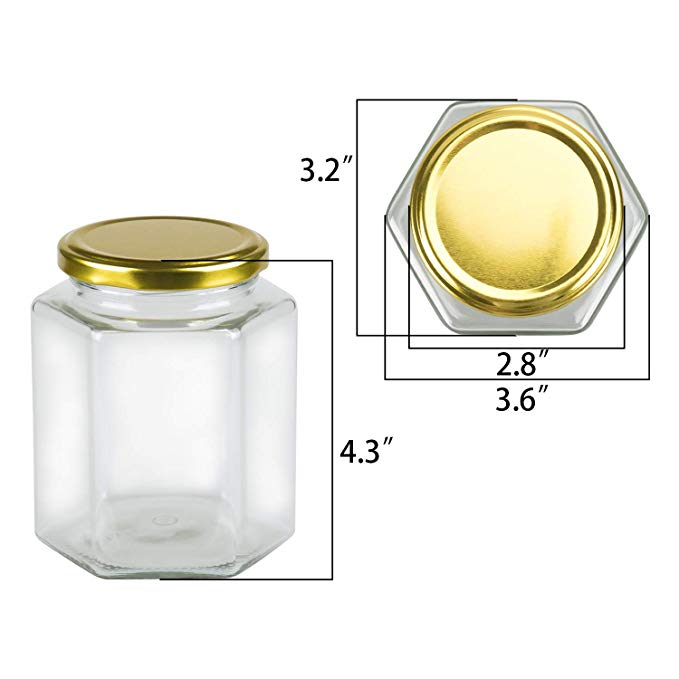 16oz Clear Glass Hexagon Jar For Herb Food Jam