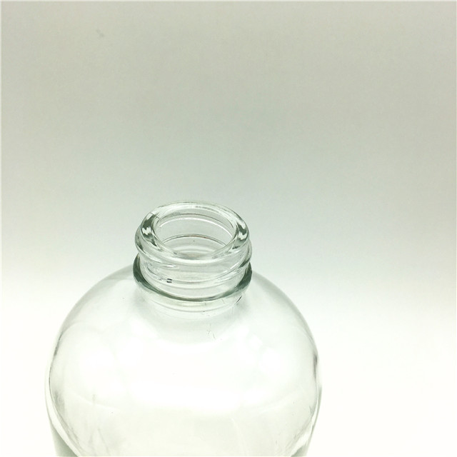 1000ml/1L 32 oz clear boston round oilive oil/drink glass bottle with plastic cap