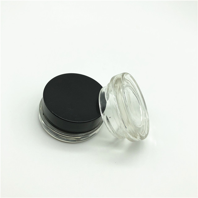 7ml cosmetic glass jar with black child resistant lid/child proof screw lid