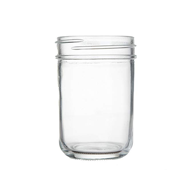 Clear glass jelly jar with metal lid
