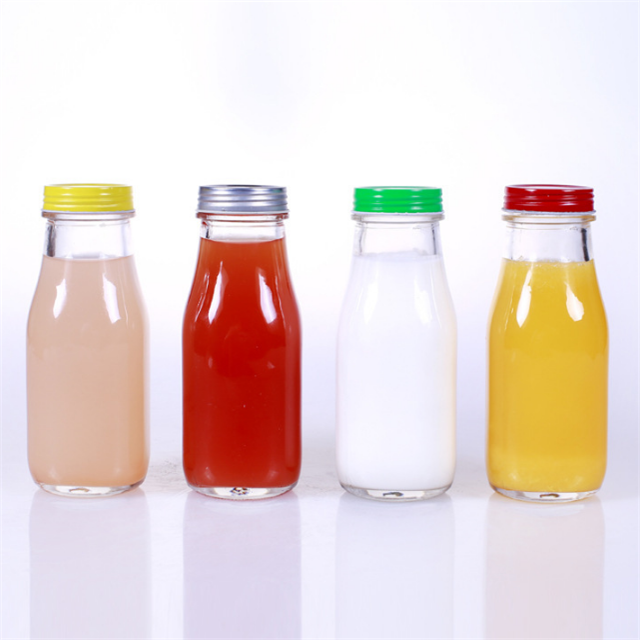 Wholesale Portable Round Cold Coffee Food Beverage Glass 300ml Kombucha Bottle For Juice With Straw